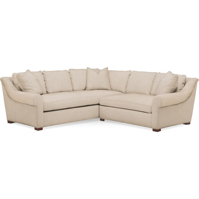 Living Room Furniture - Asher 2-Piece Sectional with Right-Facing Loveseat - Cumulus in Dudley Buff