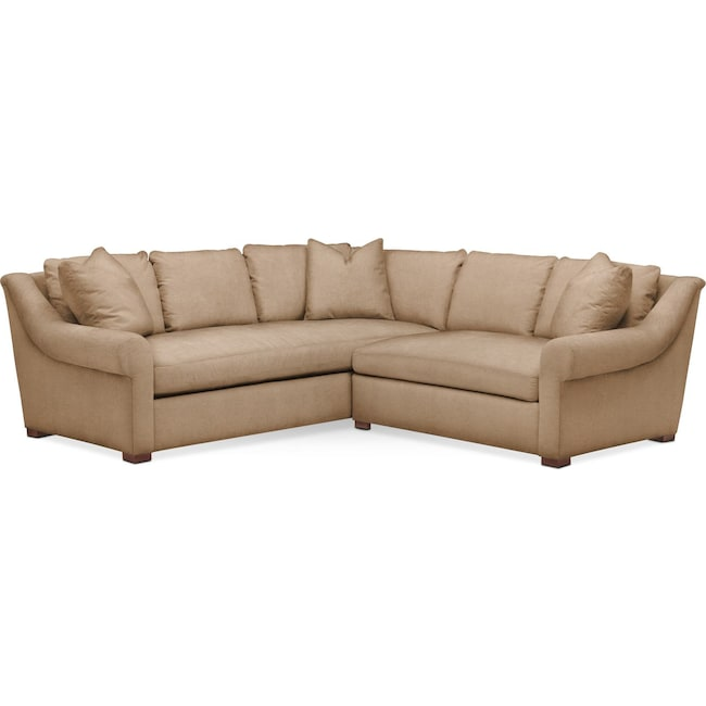 Living Room Furniture - Asher 2 Pc. Sectional with Right Arm Facing Loveseat- Cumulus in Hugo Camel