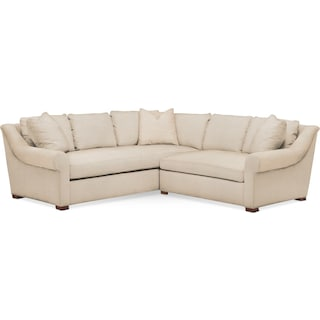 Asher 2 Pc. Sectional with Right Arm Facing Loveseat- Cumulus in Victory Ivory