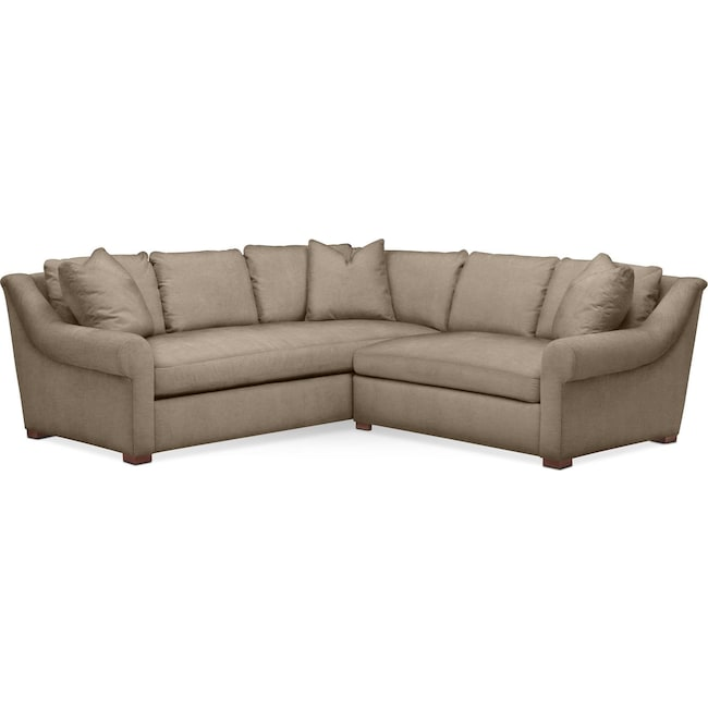 Living Room Furniture - Asher 2 Pc. Sectional with Right Arm Facing Loveseat- Cumulus in Statley L Mondo