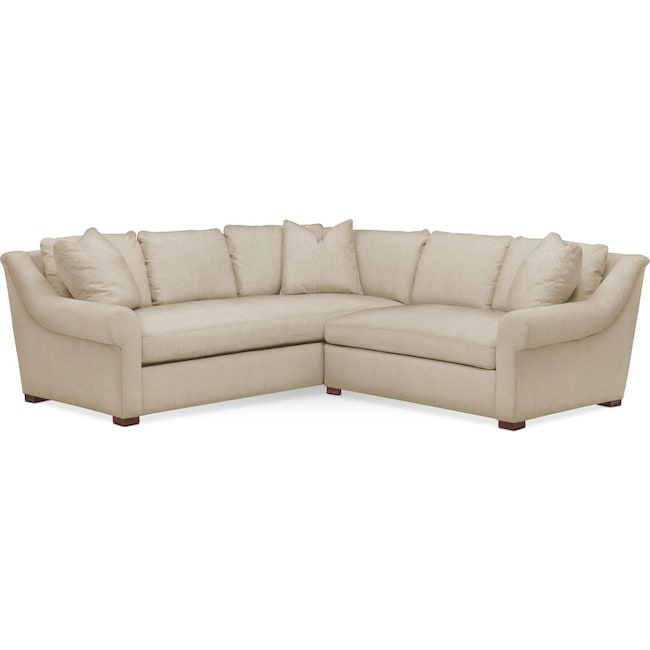 Living Room Furniture - Asher 2 Pc. Sectional with Right Arm Facing Loveseat- Cumulus in Depalma Taupe