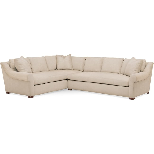 Living Room Furniture - Asher 2 Pc. Sectional with Right Arm Facing Sofa- Cumulus in Dudley Buff