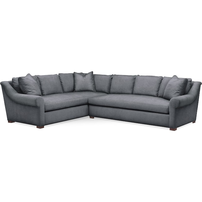 Living Room Furniture - Asher 2 Pc. Sectional with Right Arm Facing Sofa- Cumulus in Depalma Charcoal