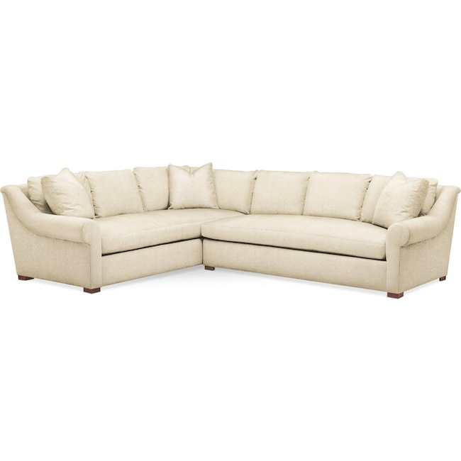 Living Room Furniture - Asher 2 Pc. Sectional with Right Arm Facing Sofa- Cumulus in Anders Cloud