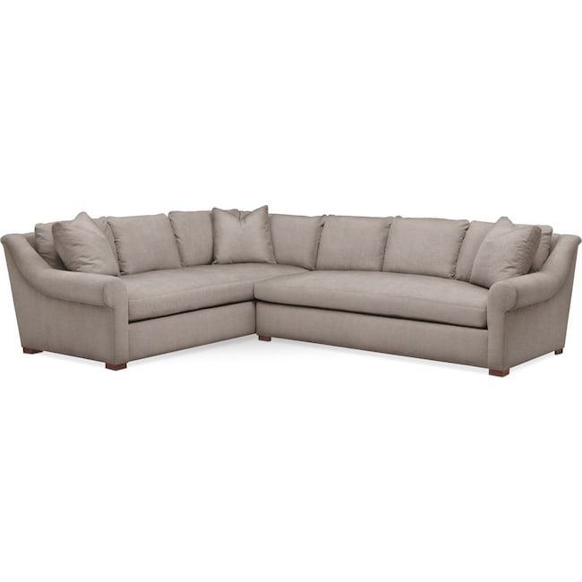 Living Room Furniture - Asher 2-Piece Sectional with Right-Facing Sofa - Cumulus in Abington TW Fog