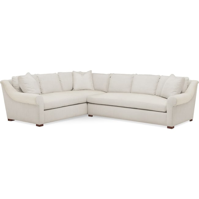 Living Room Furniture - Asher 2 Pc. Sectional with Right Arm Facing Sofa- Cumulus in Victory Ivory
