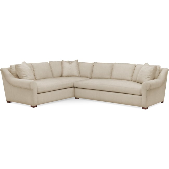 Living Room Furniture - Asher 2 Pc. Sectional with Right Arm Facing Sofa- Cumulus in Depalma Taupe