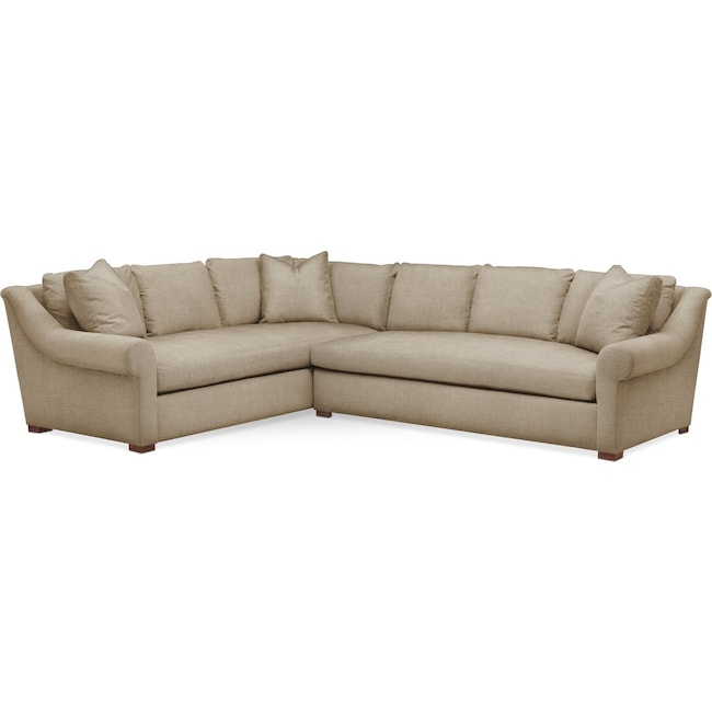 Living Room Furniture - Asher 2 Pc. Sectional with Right Arm Facing Sofa- Cumulus in Milford II Toast