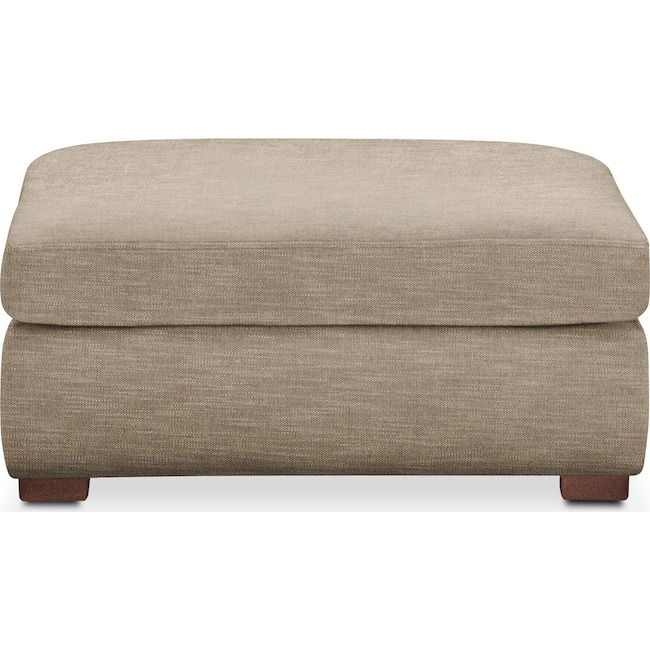 Living Room Furniture - Asher Ottoman- Cumulus in Dudley Burlap