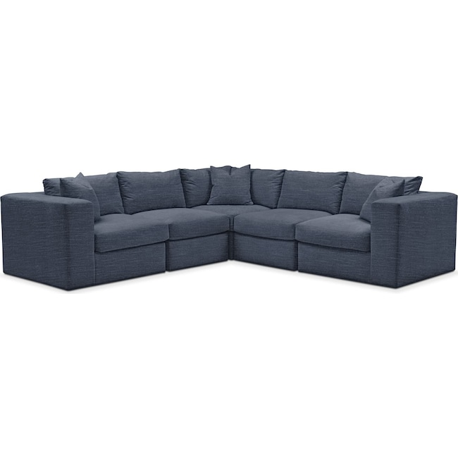 Living Room Furniture - Collin 5 Pc. Sectional - Cumulus in Curious Eclipse