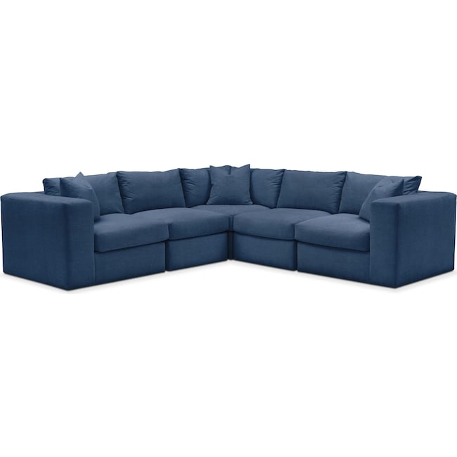 Living Room Furniture - Collin 5 Pc. Sectional - Cumulus in Hugo Indigo