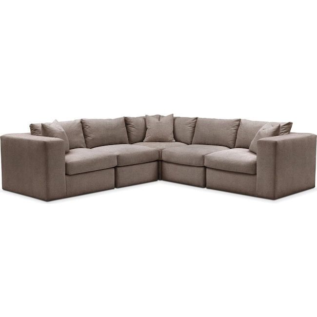 Living Room Furniture - Collin 5 Pc. Sectional - Cumulus in Hugo Mocha