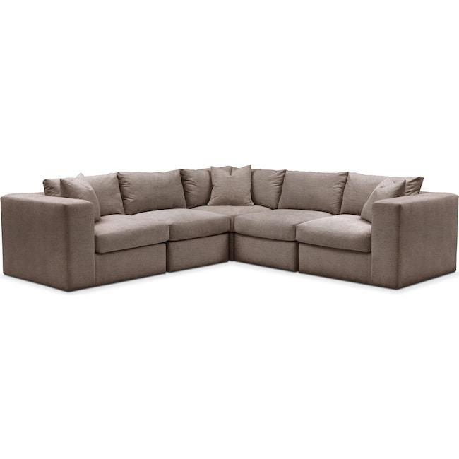 Living Room Furniture - Collin 5 Pc. Sectional - Cumulus in Hugo Mocha
