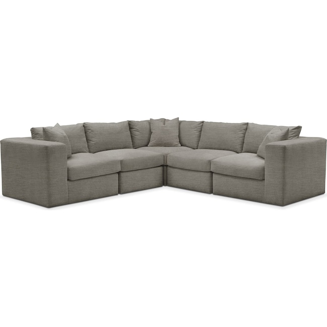 Living Room Furniture - Collin 5 Pc. Sectional - Cumulus in Victory Smoke