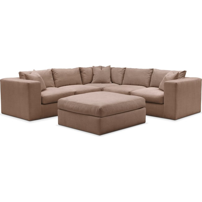 Living Room Furniture - Collin 6 Pc. Sectional- Cumulus in Abington TW Antler