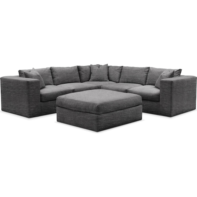 Living Room Furniture - Collin 6 Pc. Sectional- Cumulus in Milford II Charcoal