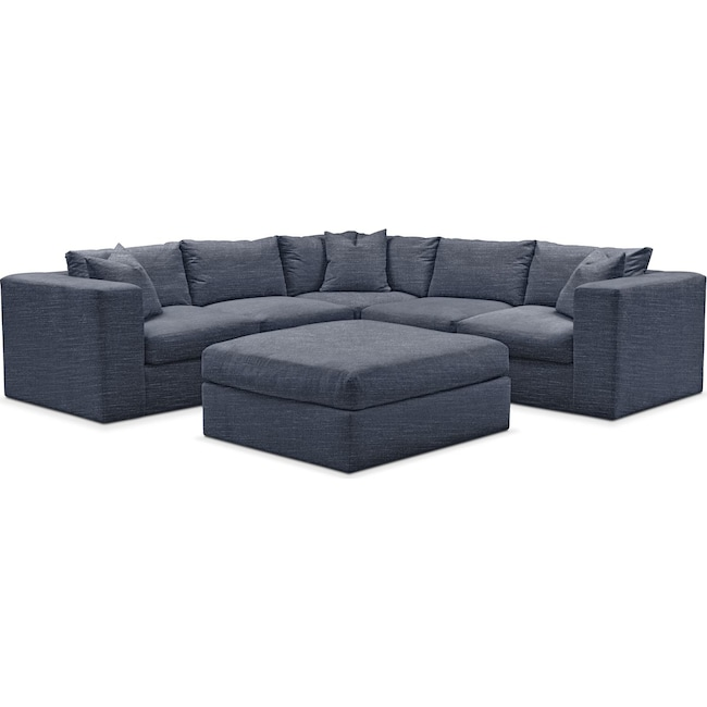 Living Room Furniture - Collin 6 Pc. Sectional- Cumulus in Curious Eclipse