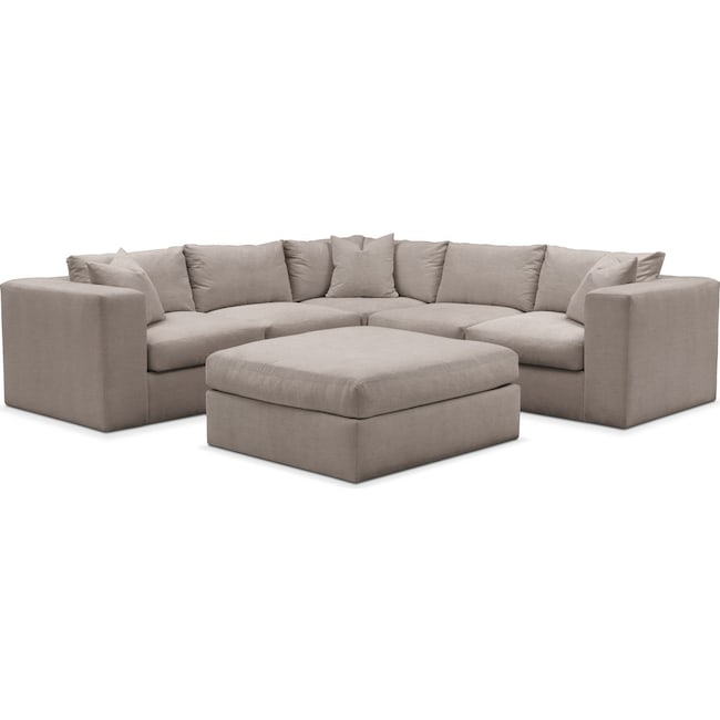Living Room Furniture - Collin 6 Pc. Sectional- Cumulus in Abington TW Fog