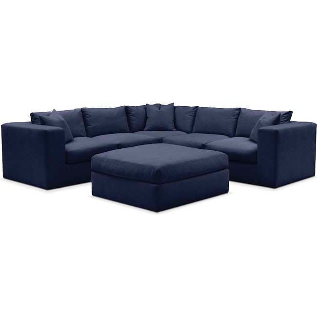 Living Room Furniture - Collin 6-Piece Sectional - Cumulus in Oakley III Ink