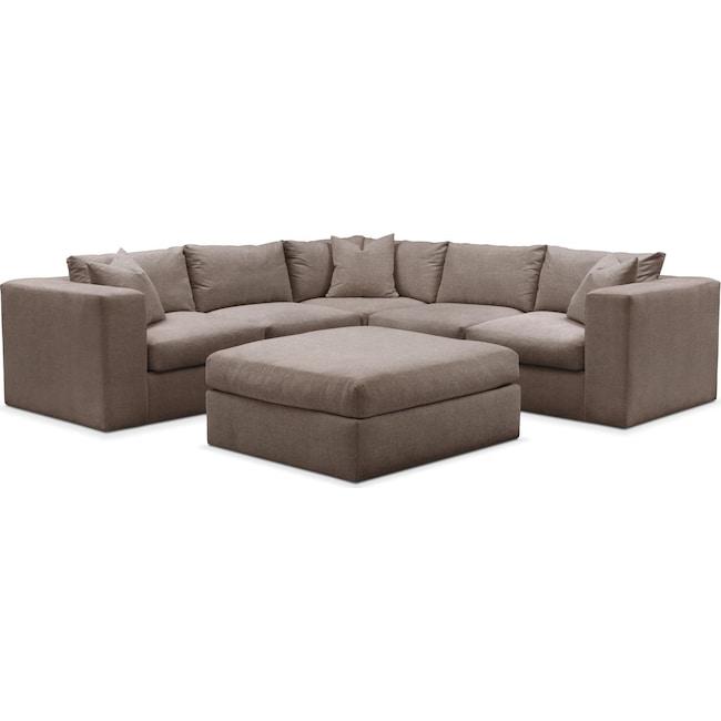 Living Room Furniture - Collin 6 Pc. Sectional- Cumulus in Hugo Mocha