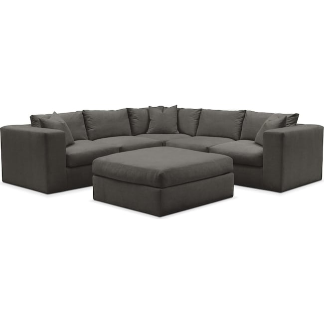 Living Room Furniture - Collin 6 Pc. Sectional- Cumulus in Statley L Sterling