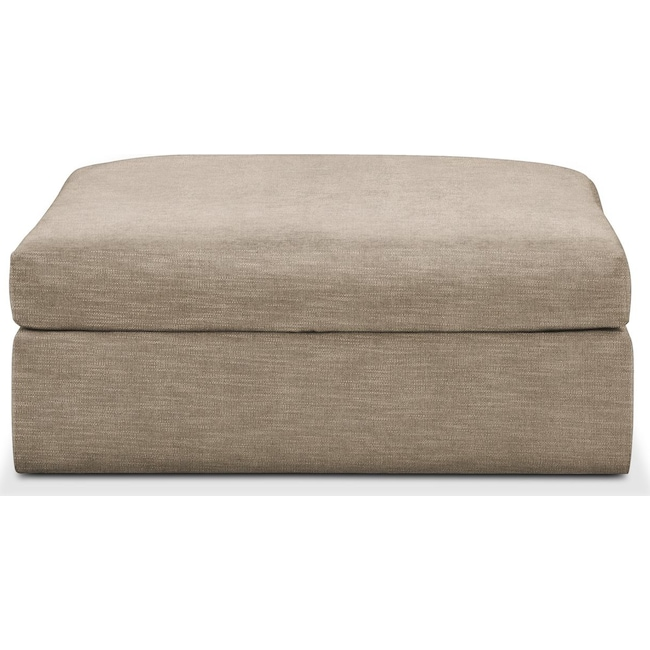 Living Room Furniture - Collin Ottoman- Cumulus in Dudley Burlap
