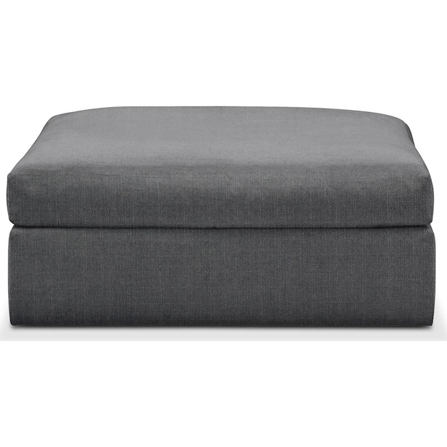 Living Room Furniture - Collin Ottoman- Cumulus in Curious Charcoal