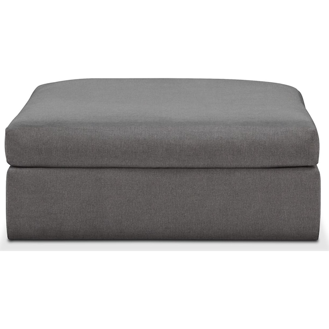 Living Room Furniture - Collin Ottoman- Cumulus in Hugo Graphite