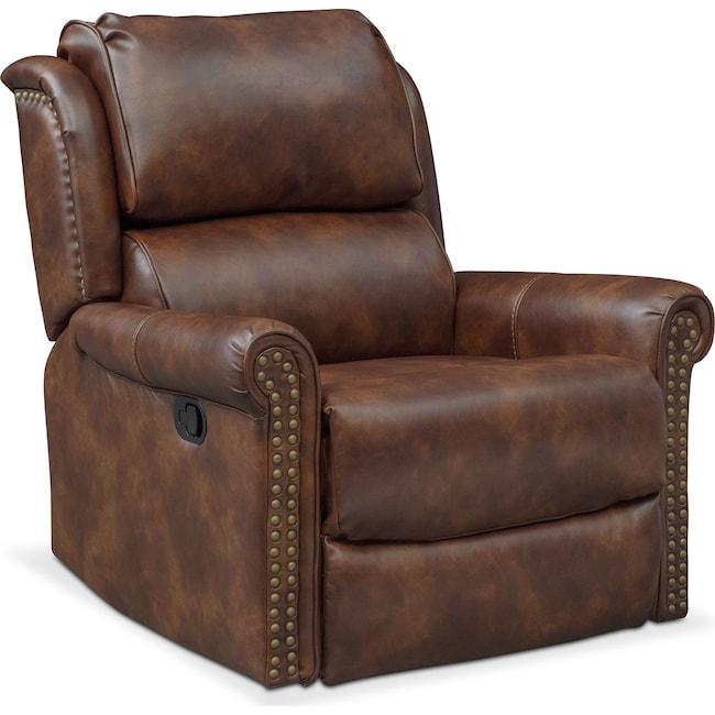 Living Room Furniture - Courtland Glider Recliner - Pecan