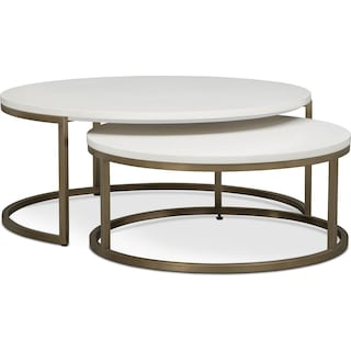 Tableau 2-Piece Nesting Cocktail Tables - Brass and Quartz