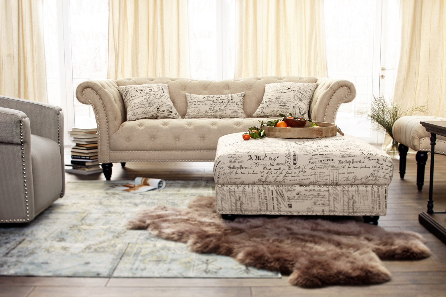marisol sofa loveseat and chaise set beige value city