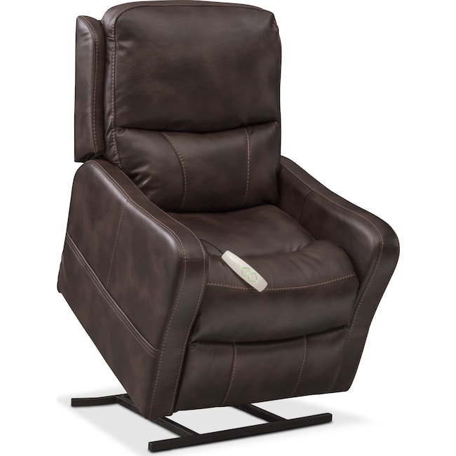 Living Room Furniture - Cabo Power Lift Recliner - Chocolate