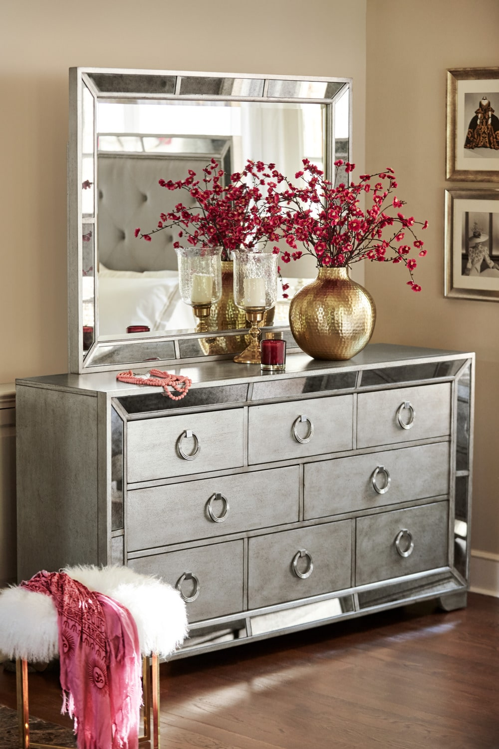Angelina Dresser And Mirror Metallic Value City
