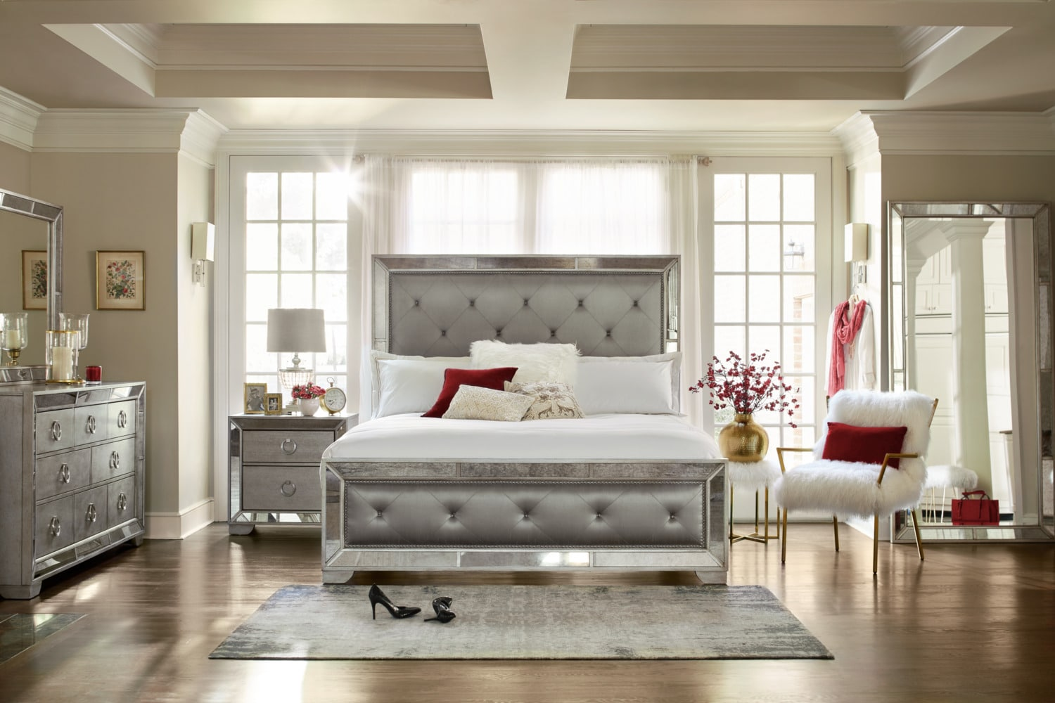 Angelina 5-Piece King Upholstered Bedroom Set - Metallic | Value ...