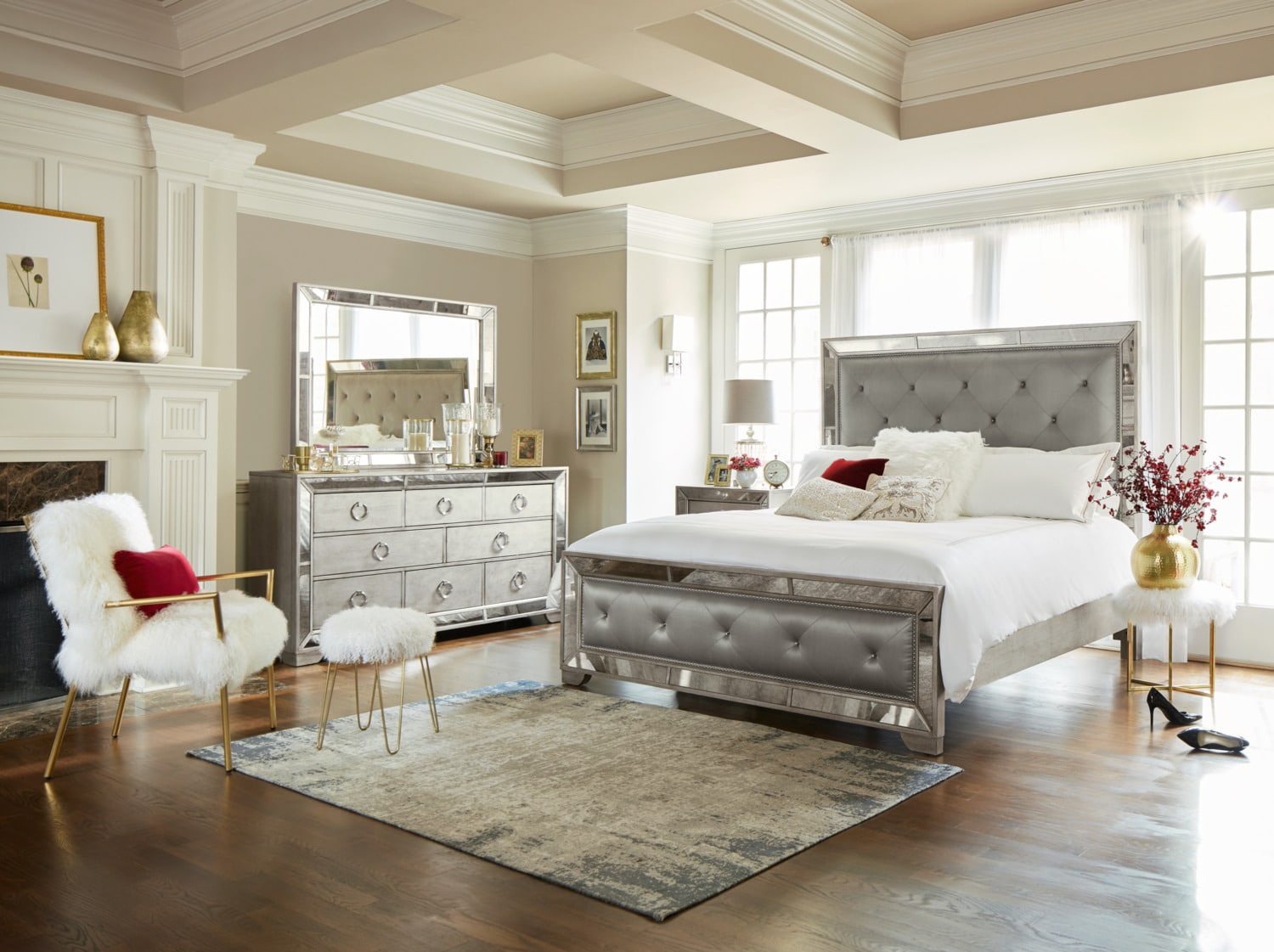 Angelina 6-Piece Queen Upholstered Bedroom Set - Metallic | Value ...