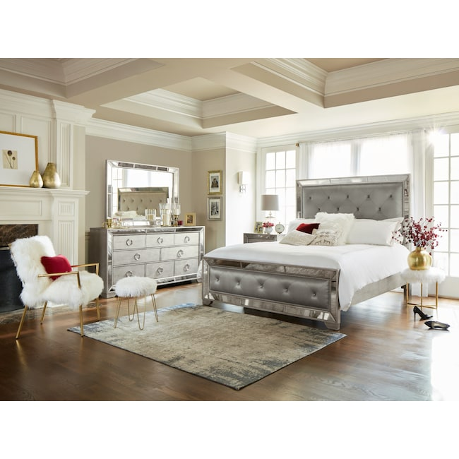 Bedroom Furniture - Angelina 5-Piece Queen Bedroom Set - Metallic
