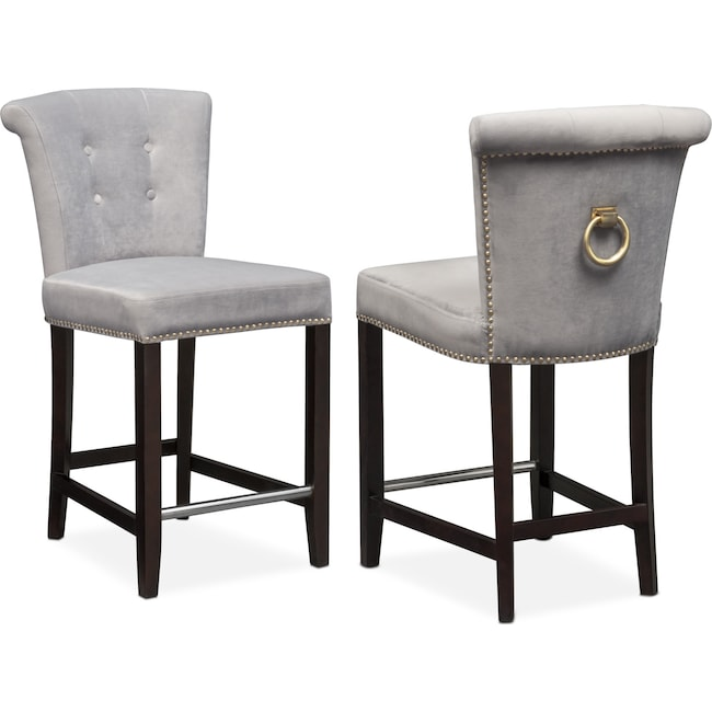 Calloway Counter Height Stool Gray Gold Value City Furniture And Mattresses