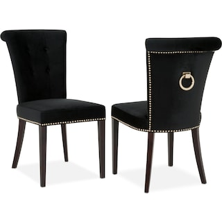 Calloway Side Chair - Black/Gold | Value City Furniture and Mattresses