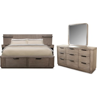 Malibu 5-Piece Queen Low Wall Storage Bedroom Set - Gray