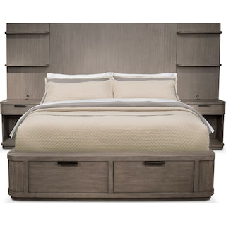 Malibu King Tall Storage Wall Bed - Gray