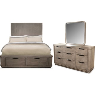 Malibu 5-Piece Queen Tall Storage Bedroom Set - Gray