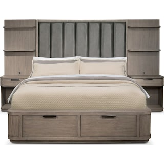 Malibu Queen Tall Upholstered Storage Wall Bed - Gray