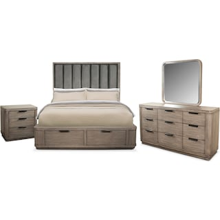 Malibu 6-Piece Queen Tall Upholstered Storage Bedroom Set - Gray
