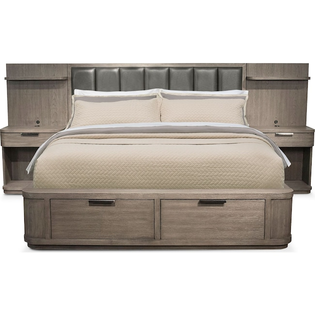 Bedroom Furniture - Malibu Upholstered Storage Wall Bed