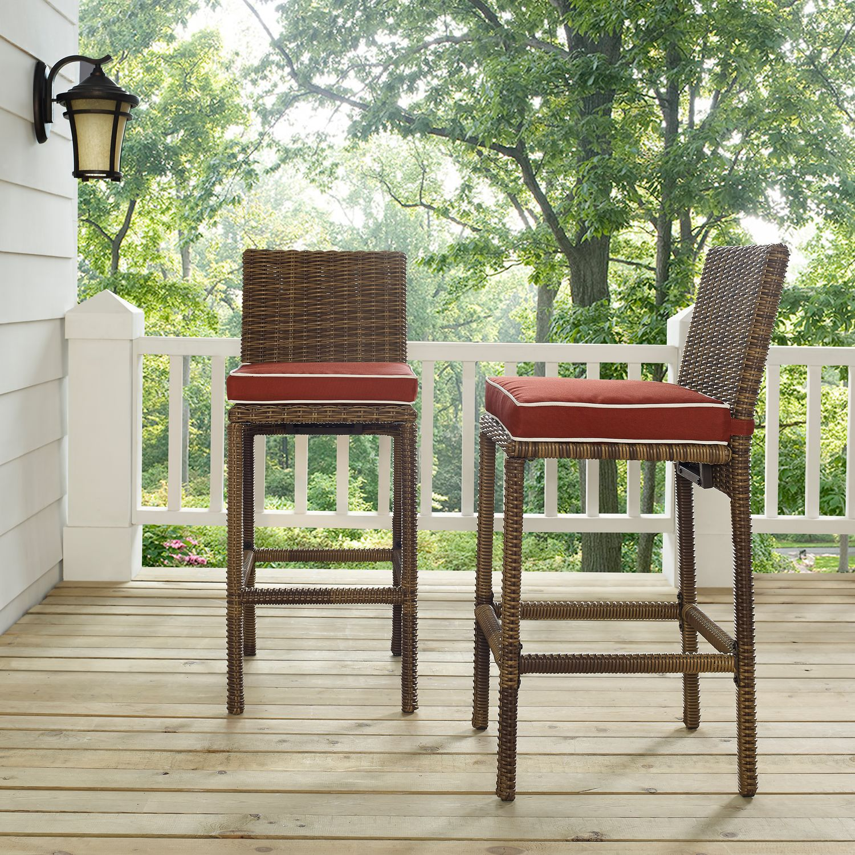 Outdoor Furniture   Destin Outdoor Set Of 2 Barstools   Sangria