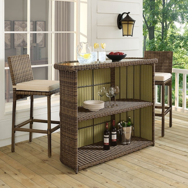 Outdoor Furniture - Destin Outdoor Bar and 2 Barstools - Sand