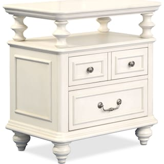 Charleston Open Top Nightstand - White