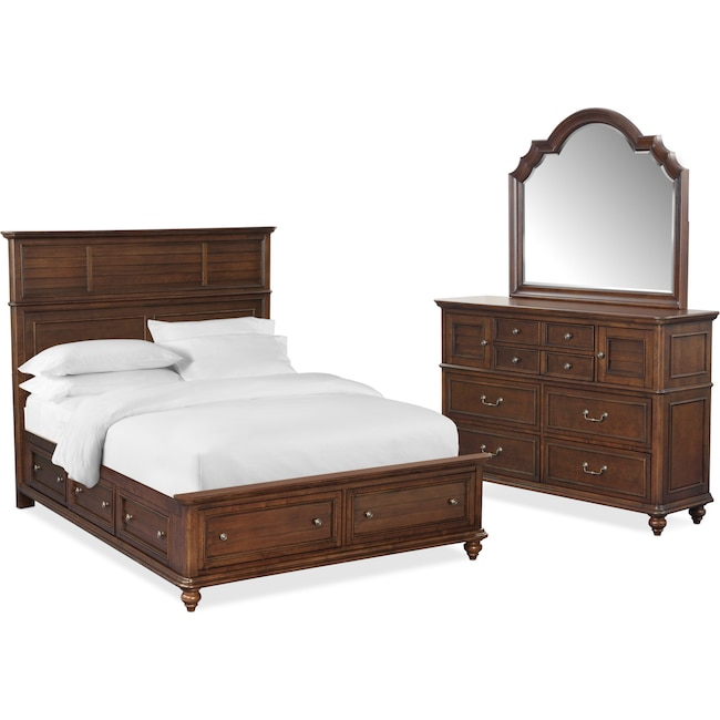 Bedroom Furniture - Charleston 5-Piece Panel Storage Bedroom Set with 6 Underbed Drawers, Dresser and Mirror