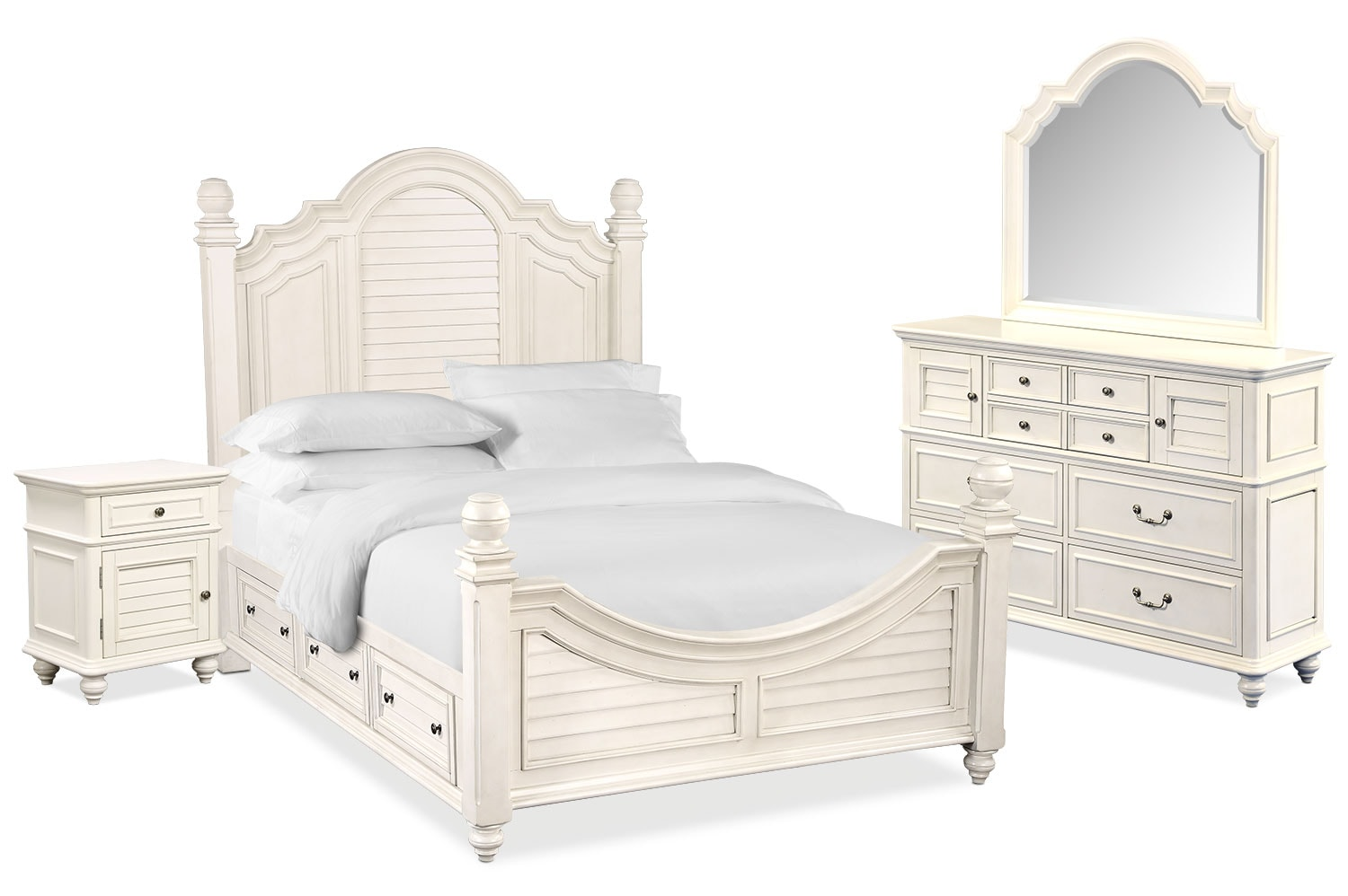 Bedroom Furniture - Charleston 6-Piece Poster Bedroom Set with 4 Underbed Drawers, Nightstand, Dresser and Mirror