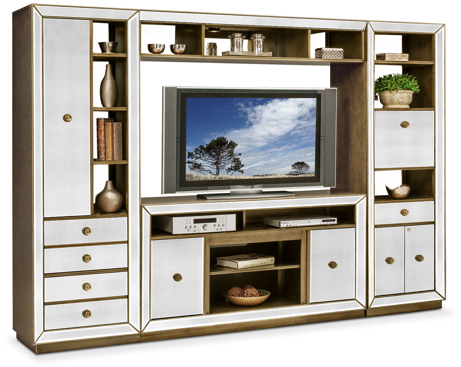 Incroyable Entertainment Furniture   Reflection 4 Piece Entertainment Wall Unit    Mirror